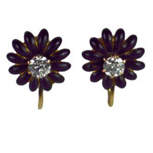 Old Cut Diamond and Enamel Flower Earrings, 0.80 carats
