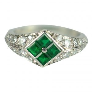 Emerald and Diamond Checkerboard Platinum Dress Ring