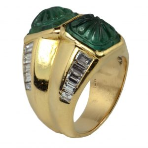 Carved 7.22ct Emerald and Diamond Dress Ring, 18ct Yellow Gold