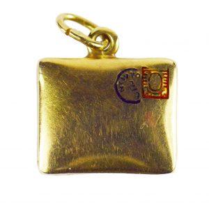 Enamel and 14ct Yellow Gold Envelope Charm Pendant