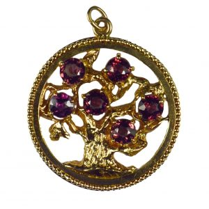 Garnet and 14ct Yellow Gold Tree of Life Medallion Charm Pendant