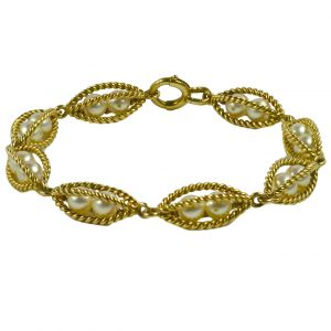 French 18ct Yellow Gold Wire Caged Pearl Bracelet