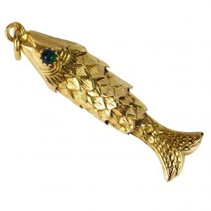 18ct Yellow Gold Articulated Fish Charm Pendant