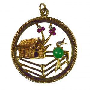Jade, Ruby, Diamond and Gold Bird Home Sweet Home Charm Pendant