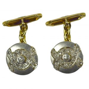 Art Deco Rose and Old Cut Diamond, Platinum and 18ct Gold Cufflinks