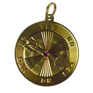 Ruby and Gold Love Heart Spinning Arrow Disc Charm Pendant