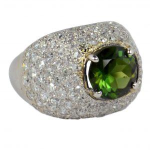 1.84ct Peridot, Diamond and Platinum Bombe Dome Dress Ring