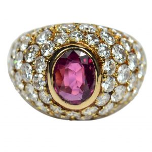 Vintage 1950s French Ruby and Diamond Gold Bombe Ring