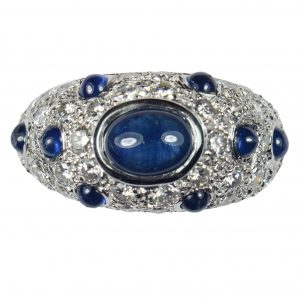 Vintage French Sapphire and Diamond Bombe 18ct Gold Ring, Circa 1950