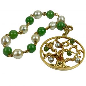 Pearl, Green Nephrite Jade and Yellow Gold Tree of Life Charm Bracelet