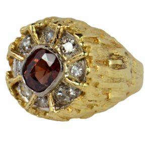 Modernist 2.55ct Brown Zircon and Diamond Cocktail Dress Ring