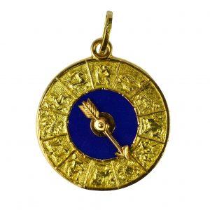 Blue Enamel and 18ct Gold Zodiac Spinning Arrow Charm Pendant