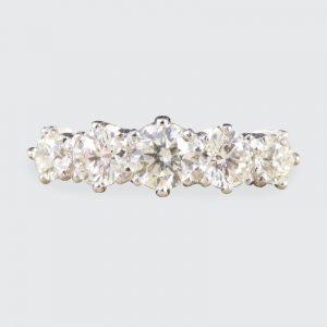 1.30ct Diamond Five Stone Ring with Diamond Shoulders