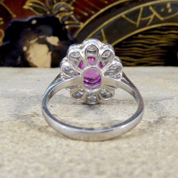 1.40ct Pink Sapphire and Diamond Oval Cluster Platinum Ring