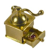 Ruby Love Heart 18ct Yellow Gold Coffee Grinder Charm Pendant