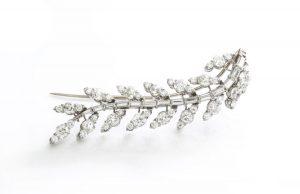 Old Cut Diamond and Platinum Spray Brooch, 5.80 carats