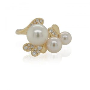 Pearl and Diamond Abstract Floral Ring in 18ct Yellow Gold