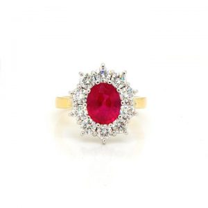 Ruby and Diamond Oval Cluster Ring in 18ct Yellow Gold, 2.02 carats