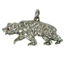 Diamond, Ruby and Platinum Bear Charm Pendant