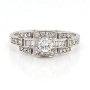 Vintage 0.50ct Baguette and Brilliant Cut Diamond Ring
