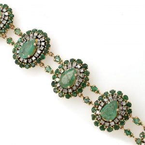 Vintage Emerald, Diamond and Gold Cluster Bracelet