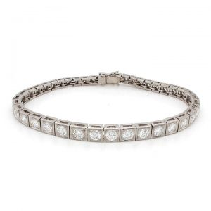 Art Deco Diamond Line Bracelet in Platinum, 4.40 carats