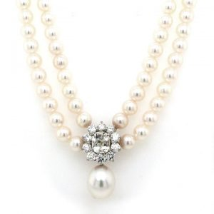 Pearl Necklace with 2.45ct Diamond and South Sea Pearl Drop