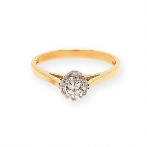 Vintage 0.35ct Diamond Solitaire Engagement Ring in 18ct Yellow Gold