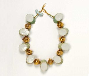 Contemporary Pauline Weirtz Cucumber and Strawberry Beaded Necklace