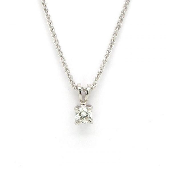 """Diamond Solitaire Pendant in 18ct White Gold; featuring a 0.23ct brilliant cut diamond single stone pendant, four-claw set, on an 18"""" 18ct white gold chain"""