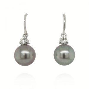 Tahitian Pearl and Diamond Drop Earrings in 18ct White Gold