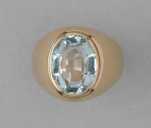 Vintage Oval Aquamarine and 18ct Rose Gold Signet Ring