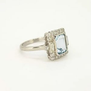 Emerald Cut Aquamarine and Diamond Cluster Ring in 18ct White Gold