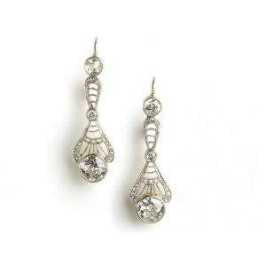 Edwardian Style Old Cut Diamond Drop Earrings, 2.40 carats