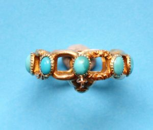 Antique Georgian Turquoise and Gold Ring with Heart Locket