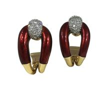 Vourakis Red Enamel, Diamond and 18ct Gold Buckle Clip On Earrings
