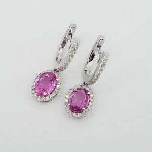 Pink Sapphire and Diamond Oval Cluster Drop Earrings, 2.01 carats