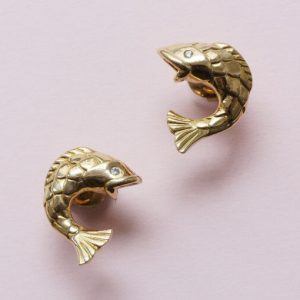 Mellerio 18ct Yellow Gold Fish Earrings; contemporary pair of 18ct gold earrings in the shape of fish. Signed and numbered: Mellerio, France