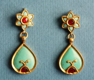 Vintage Turquoise, Ruby and Gold Drop Earrings