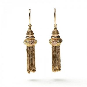 Antique Georgian Tri Colour Gold Tassel Drop Earrings, Circa 1820