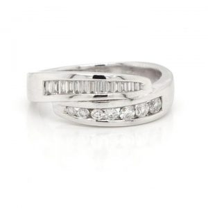 Baguette and Brilliant Cut Diamond Crossover Half Eternity Ring