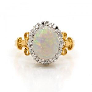 Vintage Opal and Diamond Oval Cluster Ring in 18ct Yellow Gold