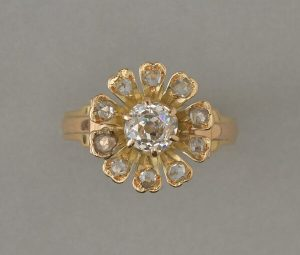 Antique Edwardian Old Cut Diamond Flower Ring, 1.07 carats