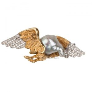 Vintage Diamond Set Winged Bird Brooch