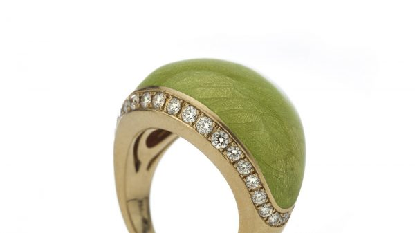 Fabergé Green Enamel, Diamond, 18ct Gold Limited Edition Domed Cocktail Ring