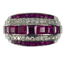 Oscar Heyman Ruby Diamond and Platinum Dress Ring; set with 4.80cts step cut rubies and 0.80cts round brilliant cut diamonds. Numbered 20544. Made in 1935 by Black Starr and Frost for Oscar Heyman Brothers