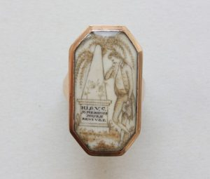 Antique Large Octagonal Gold Mourning Ring, 18th Century