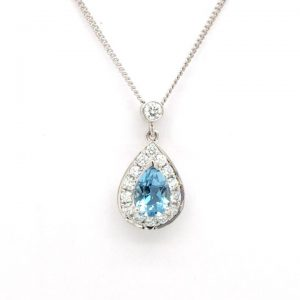 Aquamarine and Diamond Pear Shaped Drop Pendant, 0.65 carats