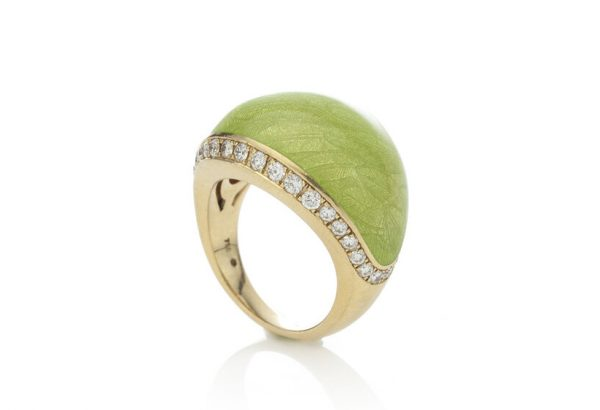 Fabergé Green Enamel, Diamond, 18ct Gold Limited Edition Ring; central domed panel applied with green enamel with a delicate leaf design, edged by 1.60cts brilliant-cut diamonds. Limited Edition Number 13/300. Made in 1990s to early 2000s