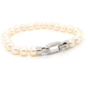 Akoya Pearl Bracelet with Diamond Set 18ct White Gold Clasp